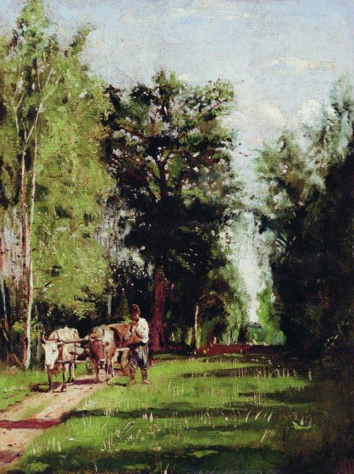 Landscape with a Cart | Alexandra Makovskaya | Oil Painting