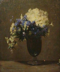 Primroses in a Glass Vase | Frederick William Jackson | Oil Painting