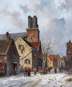 Figures In The Snow-Covered Streets Of Ransdorp | Adrianus Eversen | Oil Painting