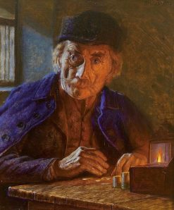 Old man counts the coins by candlelight | Alois Binder | Oil Painting