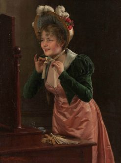 Young Woman Putting on a Hat | Emil Brack | Oil Painting
