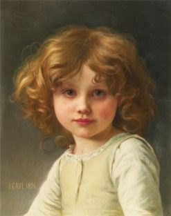 Young Girl with Curly Hair | Jules Cyrille Cave | Oil Painting
