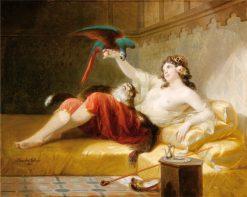 Odalisque with a Parrot | Louis Gabriel Bourbon-Leblanc | Oil Painting