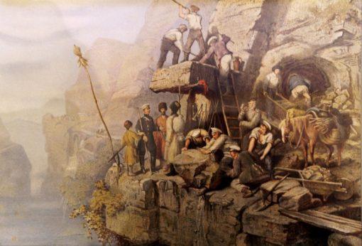 Road ?onstruction between Kobi and Gudauhr | Johann Hermann Kretzschmer | Oil Painting