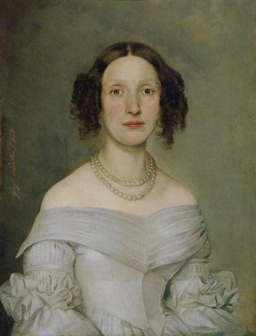 Lady in a light blue dress   Johann Baptist Reiter   Oil Painting