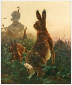 Rabbits in a Cabbage Field | Carl Friedrich Deiker | Oil Painting