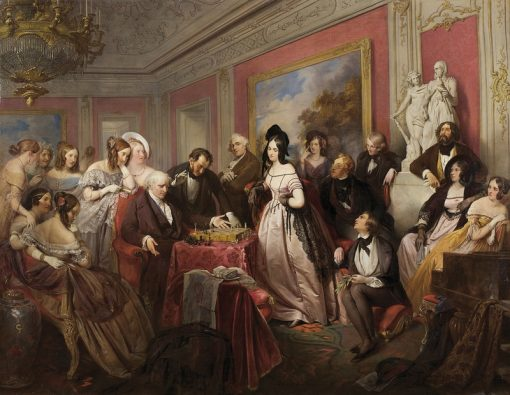 The Chess Game | Josef Franz Danhauser | Oil Painting