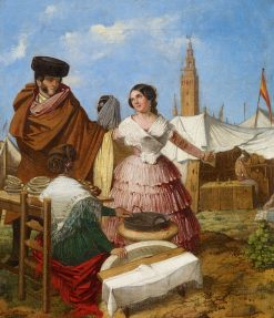Courting at a Ring-Shaped Pastry Stall at the Seville Fair | Rafael Benjumea | Oil Painting