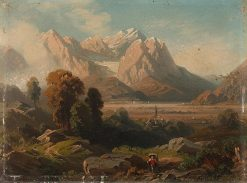 Mountain landscape with hikers | August Seidel | Oil Painting