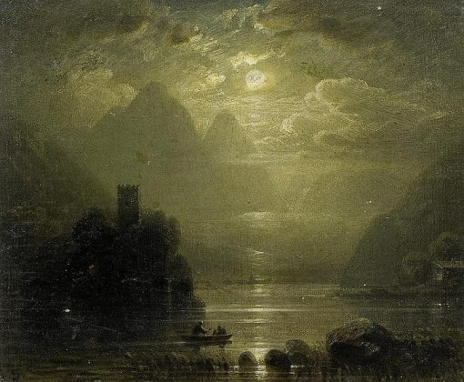 Moonlight over Lake Geneva with the Chateau Chillon | August Seidel | Oil Painting