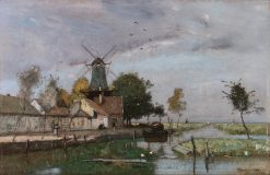 Dutch Canal with Windmill | Rudolf Ribarz | Oil Painting
