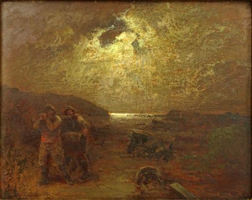 Moonlit Shore Scene | Louis Douzette | Oil Painting