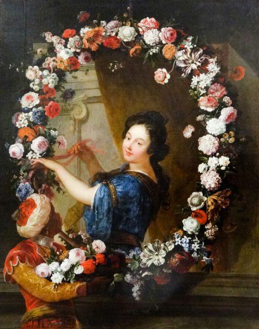 Femme a mi-corps attachant une guirlande de fleurs | Jean-Baptiste Belin de Fontenay | Oil Painting