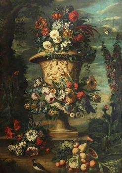 An Urn Filled and Garlanded with Summer Flowers and Autumn Fruit | Jean-Baptiste Belin de Fontenay | Oil Painting