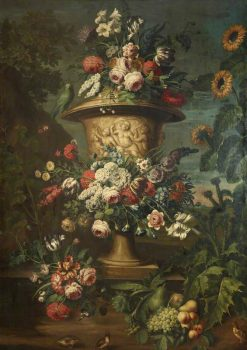 An Urn Filled and Garlanded with Summer Flowers | Jean-Baptiste Belin de Fontenay | Oil Painting