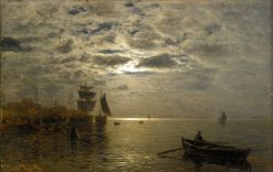 Coastal Landscape in Moonlight | Louis Douzette | Oil Painting