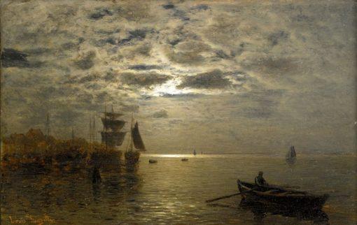 Coastal Landscape in Moonlight | Louis Douzette | Oil Painting