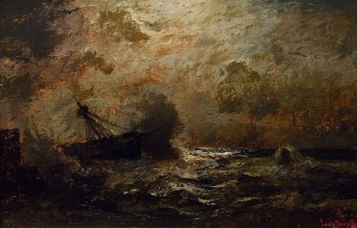 Moonlit stormy seas | Louis Douzette | Oil Painting