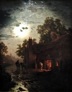 Village forge in the moonlight | Louis Douzette | Oil Painting
