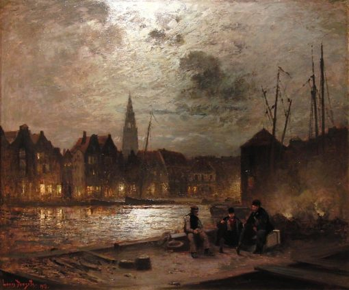 Harbor in Moonlight | Louis Douzette | Oil Painting
