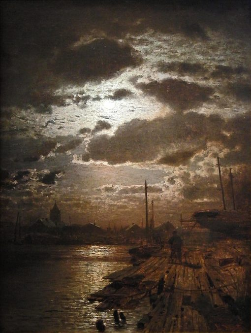 Moonlit Harbor | Louis Douzette | Oil Painting