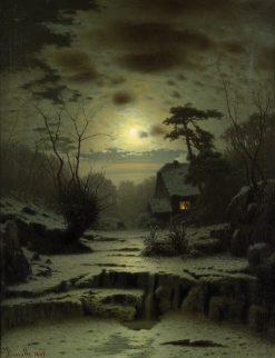 Winter Landscape. Full Moon | Louis Douzette | Oil Painting