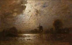 Moonlit Landscape with a Windmill | Louis Douzette | Oil Painting