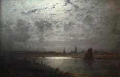 View of Lubeck in the Moonlight | Louis Douzette | Oil Painting