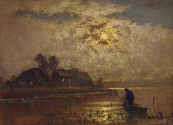 Fisherman in the Moonlight | Louis Douzette | Oil Painting