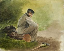 Sitting lumberjack | Louis Douzette | Oil Painting