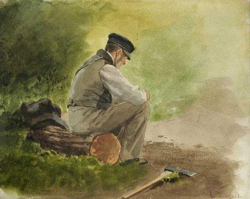 Sitting lumberjack | Louis Douzette | Oil Painting