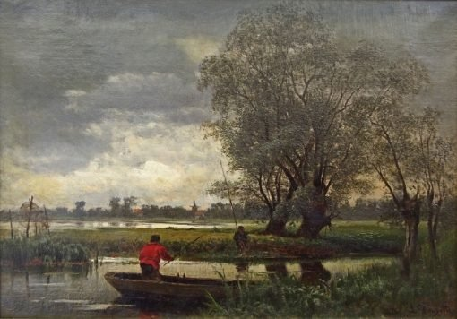 Angler in Prerow | Louis Douzette | Oil Painting