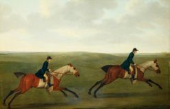 Two Racehorses with Liveried Lads Up