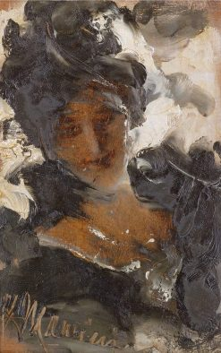 An elegant lady | Antonio Mancini | Oil Painting