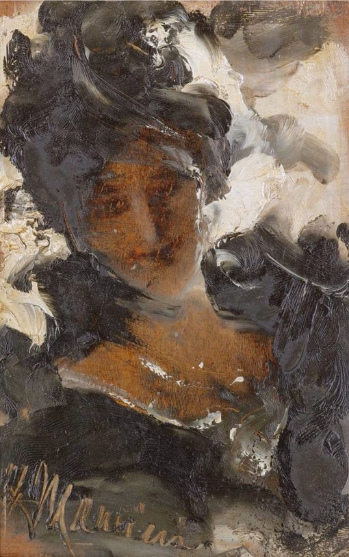 An elegant lady   Antonio Mancini   Oil Painting