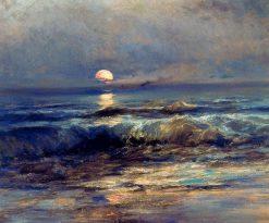 Playa con sol poniente | Jaime Morera y Galicia | Oil Painting