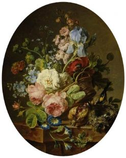Open wicker basket of mixed flowers | Cornelis van Spaendonck | Oil Painting