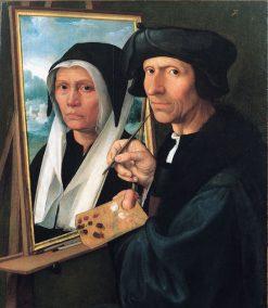 Jacob Cornelisz. van Oostsanen painting his wifes portrait | Dirck Jacobsz. | Oil Painting
