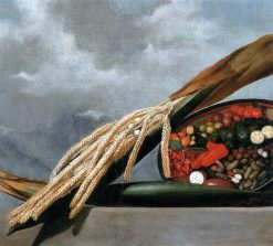 Blooming palm tree and basket with condiments | Albert Eckhout | Oil Painting