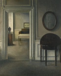 Interior with a Mirror   Vilhelm Hammershøi   Oil Painting
