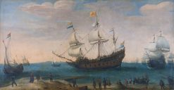 The Mauritius and other East Indiamen | Hendrick Vroom | Oil Painting