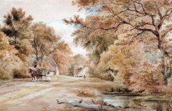 Horse and Cart on a Rural Lane | Henry Edridge | Oil Painting