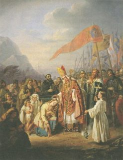 Bishop Henry baptizes the Finns at the spring of Kuppis