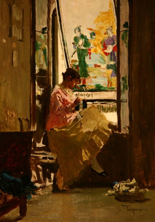 Girl at the Window | Giacomo Favretto | Oil Painting