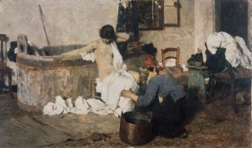 After the Bath   Giacomo Favretto   Oil Painting
