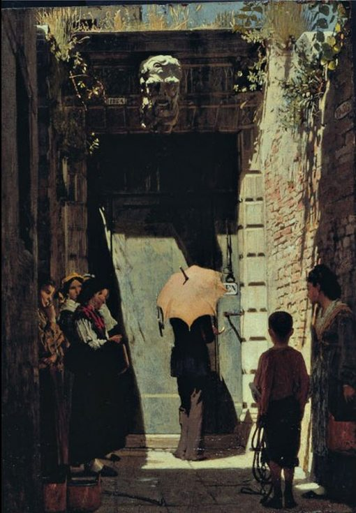Entrance of a patrician house in Venice   Giacomo Favretto   Oil Painting