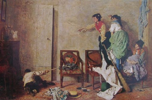 Three Women Frightened by a Rat | Giacomo Favretto | Oil Painting