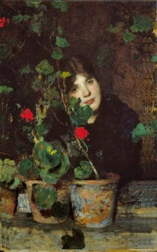 Girl with Flower Pots   Giacomo Favretto   Oil Painting