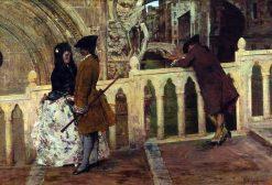 Meeting on the Bridge | Giacomo Favretto | Oil Painting