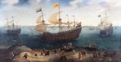 The Amsterdam fourmaster De Hollandse Tuyn and other ships on their return from Brazil | Hendrick Vroom | Oil Painting